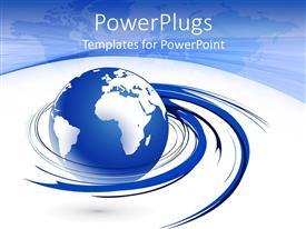 PowerPlugs: PowerPoint template with a globe with bluish spirals with bluish background