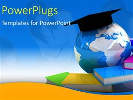 PowerPlugs: PowerPoint template with globe, books with students in background depicting global education