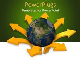 PowerPoint template displaying globe in center of gold arrows pointing out on green background