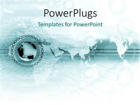 PowerPlugs: PowerPoint template with a globe with some circles round it on a map background