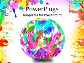 PowerPlugs: PowerPoint template with a globe of colorful hands