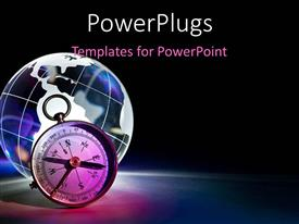 PowerPlugs: PowerPoint template with a globe with a clock and blackish background