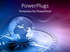 PowerPlugs: PowerPoint template with globe on compass graphics blue and purple as a metaphor