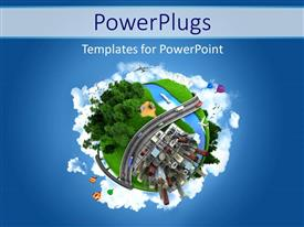 PowerPlugs: PowerPoint template with globe concept showing the various modes of transport and life styles in the world