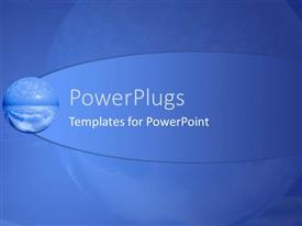 PowerPlugs: PowerPoint template with globe depicting water, clouds and sky on blue background