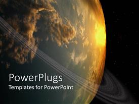 PowerPlugs: PowerPoint template with globe depiction with orbiting line and sun reflected on planet earth on starry black galaxy background