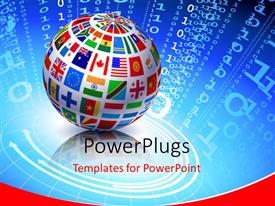 PowerPlugs: PowerPoint template with globe with different country flags on digital binary code background