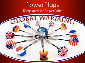 PowerPlugs: PowerPoint template with globe with different flag darts in a circle and global warming text