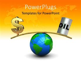 PowerPlugs: PowerPoint template with a globe with a dollar symbol and an oil can on each side