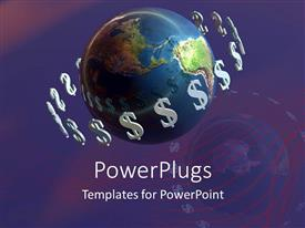 PowerPlugs: PowerPoint template with a globe with dollars spinning around
