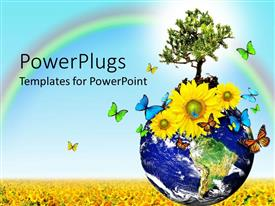 PowerPlugs: PowerPoint template with globe, Earth with tree, yellow sunflowers, colorful butterflies on sunflower field with rainbow on blue sky
