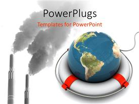 PowerPlugs: PowerPoint template with a globe with a factory in the background