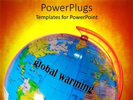 PowerPlugs: PowerPoint template with globe on fiery orange background with words Global Warming
