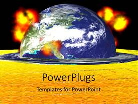 PowerPlugs: PowerPoint template with a globe with fire in the background and place for text