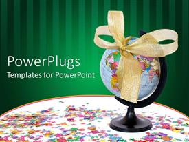 PowerPlugs: PowerPoint template with a globe with a green background