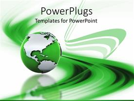 PowerPoint template displaying a globe of green color along with background consisting of green lines