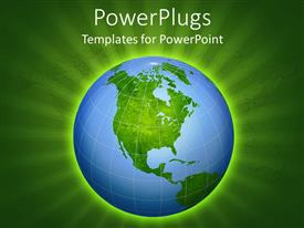 PowerPlugs: PowerPoint template with a globe with greenish background and place for text