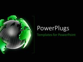 PowerPlugs: PowerPoint template with a globe with greenish part of land and blackish background