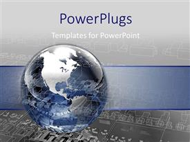 PowerPlugs: PowerPoint template with a globe with greyish background and place for text
