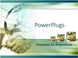 PowerPlugs: PowerPoint template with a globe and a hand shake together with clear background
