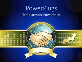 PowerPlugs: PowerPoint template with a globe and a handshake in between it