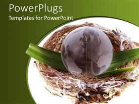 PowerPoint template displaying a globe inside a nest and greenish background