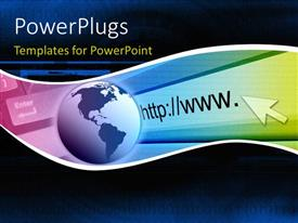PowerPlugs: PowerPoint template with a globe with an internet address and bluish background
