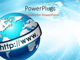 PowerPlugs: PowerPoint template with a globe with the web and bluish background