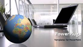 PowerPlugs: PowerPoint template with a globe with a laptop and office in background - widescreen format