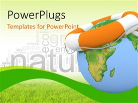 PowerPlugs: PowerPoint template with orange colored lifesaver on earth globe depicting earth preservation