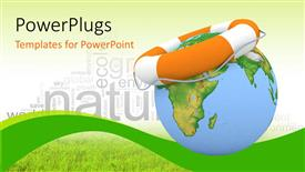 PowerPoint template displaying orange colored lifesaver on earth globe depicting earth preservation
