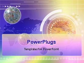 PowerPlugs: PowerPoint template with a globe with a map in the background