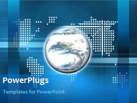 PowerPlugs: PowerPoint template with a globe with a map of the world in background
