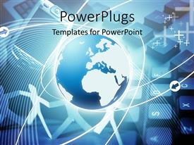 PowerPlugs: PowerPoint template with globe with mobile phone and keyboard in background