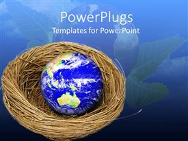 PowerPlugs: PowerPoint template with a globe in the nest with a globe in the background