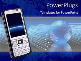 PowerPoint template displaying globe with network rays and smart phone in foreground