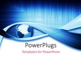 PowerPlugs: PowerPoint template with a globe with a number of bluish lines in the background