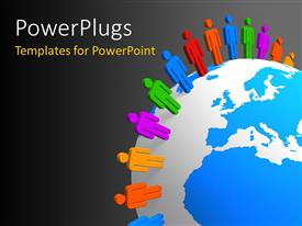 PowerPlugs: PowerPoint template with the globe with a number of colorful people around it