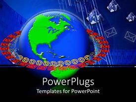 PowerPlugs: PowerPoint template with a globe with a number of mails around it showing Digital communication