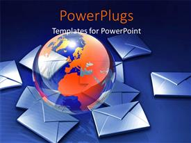 PowerPlugs: PowerPoint template with a globe with a number of mails in the background
