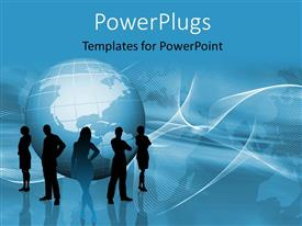 PowerPlugs: PowerPoint template with a globe with a number of people in front of it