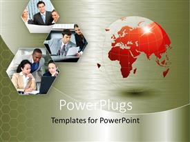 PowerPlugs: PowerPoint template with a globe with a number of pictures in the background