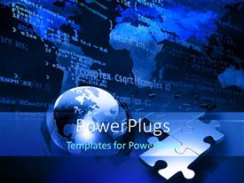 PowerPlugs: PowerPoint template with a globe with a number of puzzle pieces and map in the background