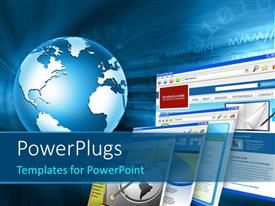PowerPlugs: PowerPoint template with a globe with a number of screens and bluish background