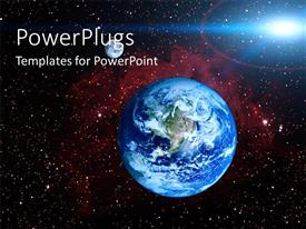 PowerPoint template displaying a globe with a number of stars in the background