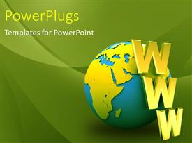 PowerPlugs: PowerPoint template with a globe with a number of words and greenish background