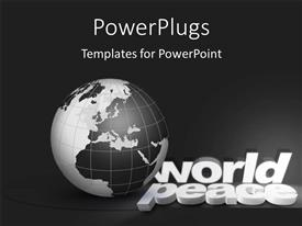 PowerPlugs: PowerPoint template with a globe with a number of words and grey background