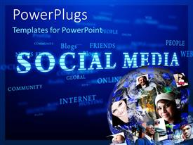 PowerPlugs: PowerPoint template with globe overlaid with faces in corner of Social Media word cloud