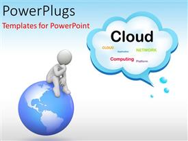 PowerPlugs: PowerPoint template with a globe with a person on top of it and cloud in the background