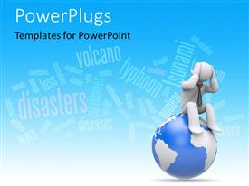PowerPlugs: PowerPoint template with a globe with a person on top and words in the background